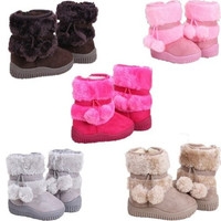 New Baby Kid Girl Toddler Infant Winter Snow Boots Keep Warm Crib Shoes Faux Fur Boots = 1932462724