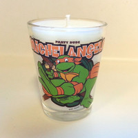 TMNT Michelangelo Candle - Soy Shot Glass Candle - CHOICE of SCENT