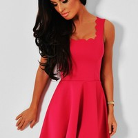 Miloko Pink Scalloped Hem Skater Dress | Pink Boutique