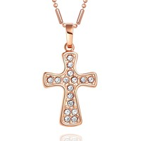 Magical Protection Powers Cross Amulet Gold-Tone Sparkling Crystals Charm 18 Inch Necklace