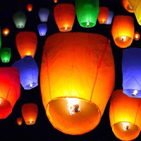 Lot 50 Mix Color Paper Chinese Lanterns Sky Fire Fly Candle Lamp Wishing Wedding