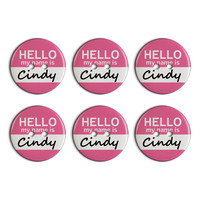 Cindy Hello My Name Is Plastic Resin Button Set of 6