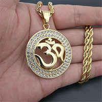 Gold OM Necklace With Zirconia Gems & Rope Chain