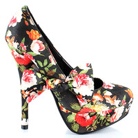 Amber-11 Black Floral Round Toe Pump Stiletto Heel with bow