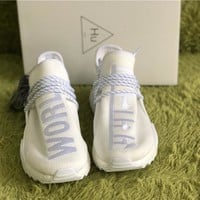 Adidas Pharrell NMD HU Holi Blank Canvas Cream White  AC7031 TR Human Race