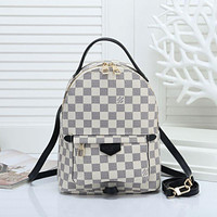 LV Louis Vuitton classic printed letters ladies backpack school bag White tartan