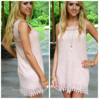 Beach Me I'm Dreaming Pink Crochet Sleeveless Shift Dress