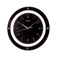 Seiko Quiet Sweep Wall Clock - Floating Black Dial - Curved Glass Crystal
