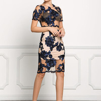 Navy Floral Applique Tulle Skirt
