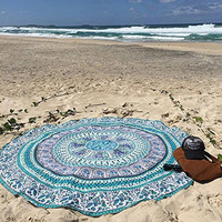 Indian Mandala Round Yoga Mat Indian Boho Room Decor Beach Throw 4 ft x 5 ft