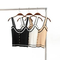 Metal Stretch Slim Knit Vest Crop Top Stripes Spaghetti Strap Bottoming Shirt [6295724868]