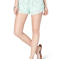 Light Green Tiered Lace Active Short