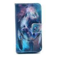 Leather Wolf Flip Case Cover For Iphone 5c With Card Holder