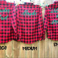 4 Flannel Bridesmaid Shirts, Bridal party gifts, Gift for Maid of Honor, Barn Wedding Shirts, Bachelorette