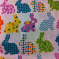 Easter Bunnies on white Cotton Fabric - Sewing craft supplies