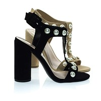 Laveda Pearl Encrusted Sandal On Chunky Block Heel, Women's Party Shoes