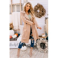 So Street Chic Faux Suede Trench Coat (Taupe)