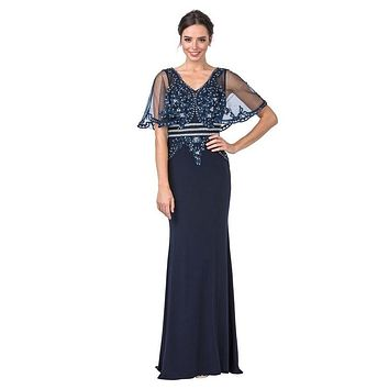 Long Formal Dress with Illusion Beaded Cape Navy Blue