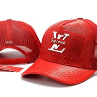 Red LOUIS VUITTION SUPREME  Baseball Cap Hat Sports Workout