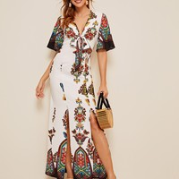 Bell Sleeve Knot Front M-slit Tribal Print Dress