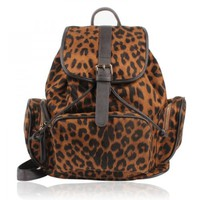 Sexy Leopard Print Leather Backpack