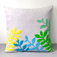 Spring Leaves Decorative Light Grey Pillow Cover. 17inch Contemporary Botanical Cushion Cover. Home Decor