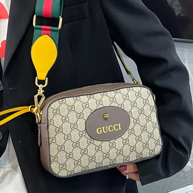 Image of GUCCI GG canvas embroidered letters ladies cosmetic bag shoulder bag chain messenger bag