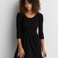 AEO Textured Fit & Flare Dress, True Black