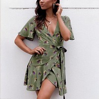 Flare Sleeve Print Boho Dress V Neck Bow Floral Beach Dress Ruffles Chiffon Short Casual Dress