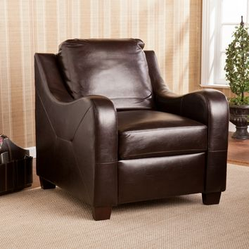 Montfort Stationary Chair Chocolate Leather