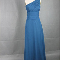 Beach One-shoulder Sleeveless Floor-length Chiffon Sashes Blue Long Prom/Evening/Party/Homecoming/Bridesmaid/Cocktail/Formal Dress 2013