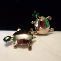 Estate Turtle Gold Plate Emerald Green Rhinestone Scatter Brooch Pin 1940's Vintage Pair