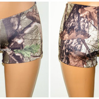 Seamless Reversible Camo Booty Shorts, Music Festival Shorts, Stretchy Spandex Short Shorts, Workout Shorts, Club Wear.  Choose Your Color