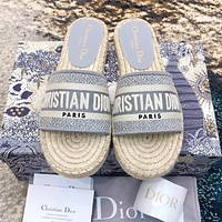 Bunchsun DIOR Hot Sale Women Retro Canvas Embroidery Flat Slippers Sandals Shoes