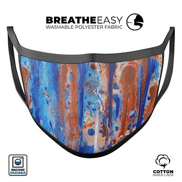 Abstract Wet Paint Rustic Blue - Made in USA Mouth Cover Unisex Anti-Dust Cotton Blend Reusable & Washable Face Mask with Adjustable Sizing for Adult or Child