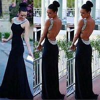 2016 HOT Sale Women Sleeveless Black Sequin Sexy Backless Formal Party Long Gown Maxi Dress