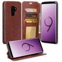 Samsung Galaxy S9 Plus Case, SM-G965U Wallet Case, Pu Leather Wallet Case [Kickstand] with ID & Credit Card Slots - Brown