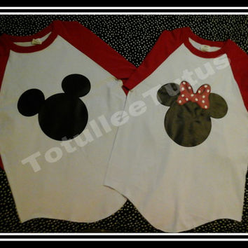 2 Day Priority Shipping Disney Inspired Couples Baseball Tshirts Mickey and Minnie Inspired Couples Shirts