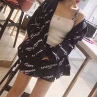 DCCK6HW Balenciaga' Women Fashion Casual Logo Letter Print Long Sleeve Hooded Cardigan Short Skirt Set Two-Piece