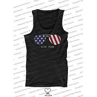 Red White and Blue Collection - Live Free Sunglasses Men's Tank Top