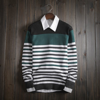 Men's Fashion Comfortable Knitwear Soft Striped Sweater