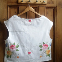 Womens linen blouse size 14 floral ladies sleeveless summer top white blouses