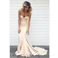 2017 New Bridesmaid Dress Maid of Honer Mermaid Sweetheart Lace Up Back long wedding dresses for guests Long Bridesmaid Dress