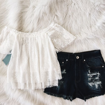 Delicate Off The Shoulder Top White Lace