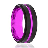 Men's Passionate Purple Groove Beveled Black Tungsten Carbide Wedding Ring - 8mm