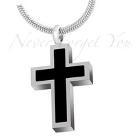 """Cremation """"Black Inlay Cross"""" Urn Necklace"""
