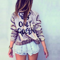 "New Fashion Bomber Jacket Letter Print ""Only Queen"" Glossy Women Souvenir Jacket Coat Casual Baseball Jacket Women Basic Coats"