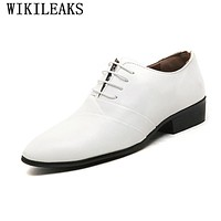 2017 designer wedding shoes man leather white oxford shoes for men formal mariage mens pointed toe dress shoes sapatos masculino
