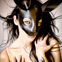 Black Leather Rabbit Mask