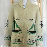 1950s Cowichan Sailor Nautical Hand Knit Sweater, Vintage Novelty Wool Unisex Cardigan
